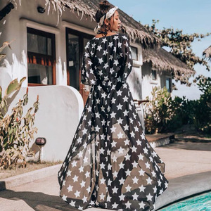 Image 2 - Cover Up Beach Wear Bikini 2019 Dresses For Women Pareo Tunics Summer 2019 Chiffon Lengthened Coastal Skirt Print Acetate Sierra