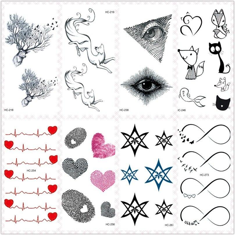 Rocooart Small Tattoo Fox Elks Fake Tattoo Hearts Taty Body Art Waterproof Temporary Tattoo Stickers For Women Tatuajes Tatouage