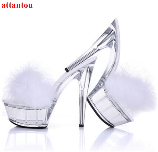 Woman sandals PVC summer slipper transparent high heels fur decor platform heel wedding party casual shoes female dress shoes summer platform wedges party shoes for woman extreme high heels sexy wedding shoes woman comfort female shoes heel