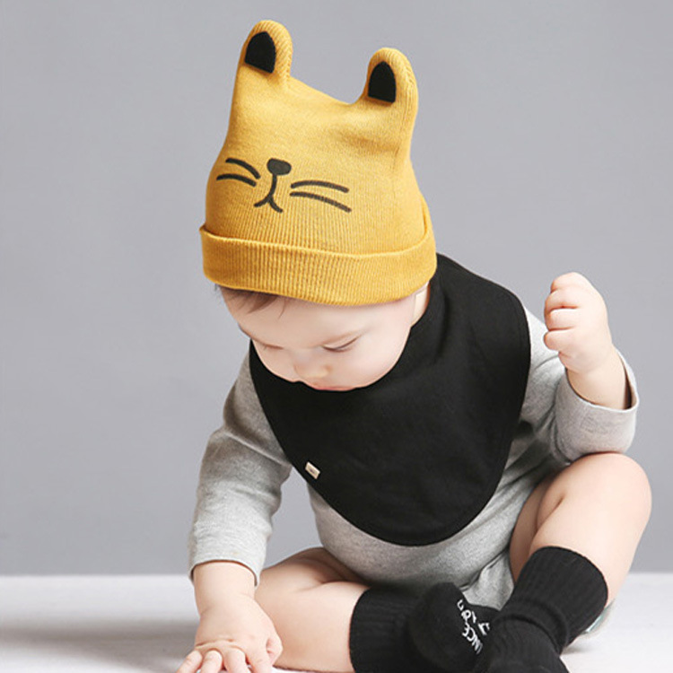 Hand crochet baby beanie football hat with pompom 0-2 months
