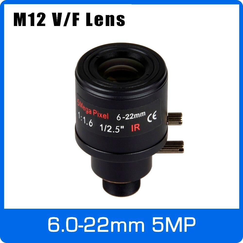 5 mégapixels À Focale Variable CCTV Lentille 6-22mm M12 Montage 1/2. 5 pouce Mise Au Point Manuelle et Zoom Pour 1080 p/4MP/5MP IP/AHD Caméra Livraison Gratuite