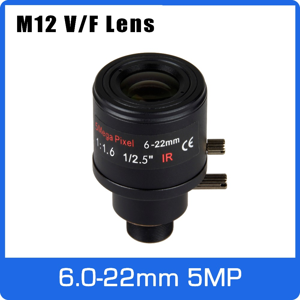 5Megapixel Varifocal CCTV Lens 6-22mm M12 Mount 1/2.5 inch Manual Focus and Zoom For 1080P/4MP/5MP IP/AHD Camera Free Shipping 8megapixel varifocal cctv 4k lens 1 1 8 inch 3 6 10mm cs mount dc iris for sony imx178 imx274 box camera 4k camera free shipping