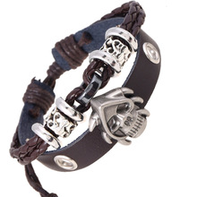 Anime One Piece Genuine Leather Pirate Skull Head Braid Silver Bangles