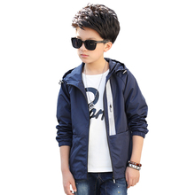 2019 Children Outerwear Kids Sporty Solid color Jackets Double-deck Waterproof Windproof Boys Jackets For 5-15 Years Old 2Colors