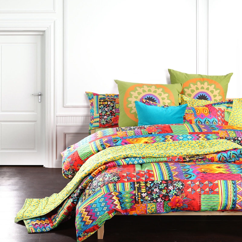 Bohemian exotic bedding, colorful modern duvet cover, queen king ...