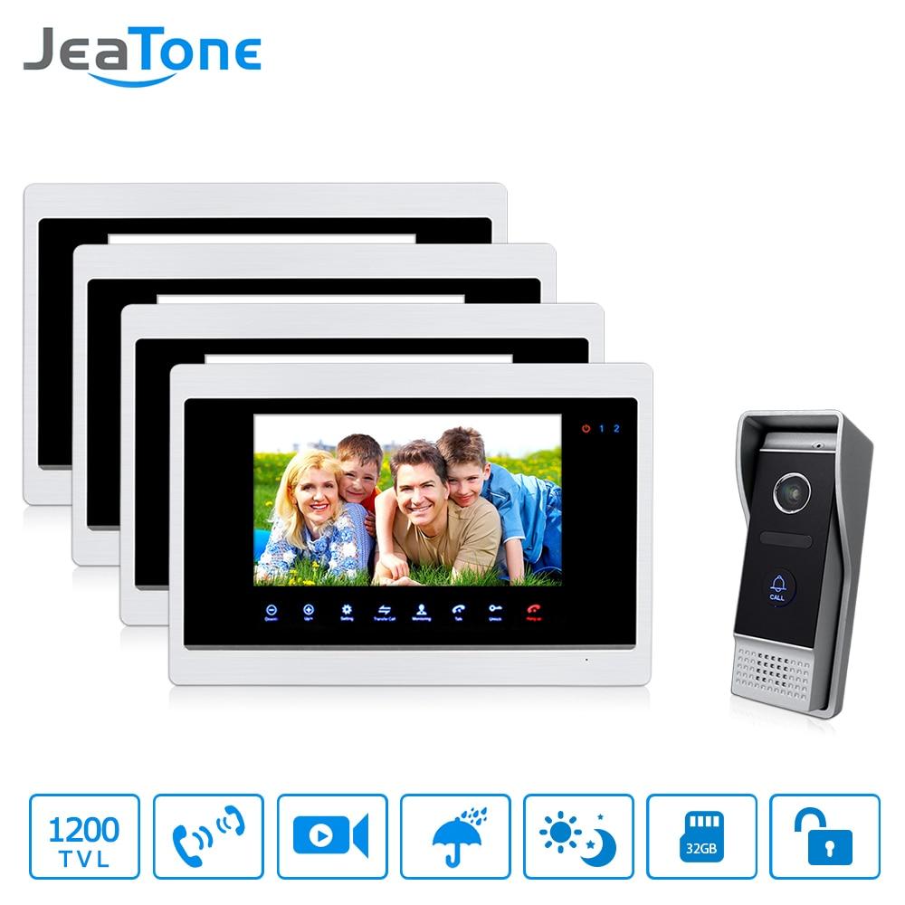 JeaTone 7 HD Color Video Door Home Phone Intercom Multi Languages Monitor4 1 Camera 1200TVL