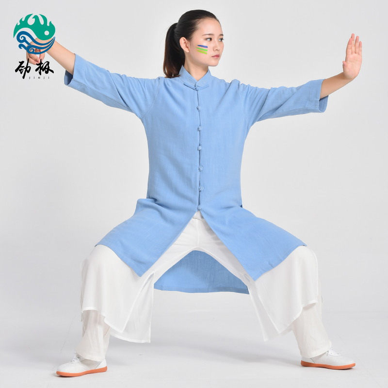 Shu Shuang Hemp Chi Meditation Service Woman Spring And Autumn Art Performance Serve Boxing Clothing Male Practice Serve
