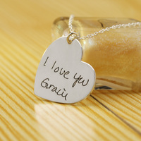 925 Sterling Silver Lover Shape Handwritten Pendant Necklace Personalized Mom Father Day Gift