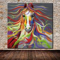 No Frame Hand Painted Modern Wall Art Pictures Living Room Home Decoration Abstract Horse Cartoon Animal