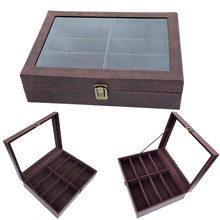 Luxury 8 Slots Handmade Glasses Box Jewellery Organizer Jewellery Box for Glasses Case Display(China)
