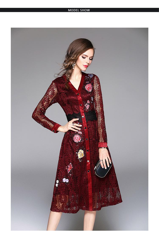 Sky Blue V-neck Floral Embroidered Lace Dress Autumn Dresses Women 2018 Vestido De Festa Hollow Out Christmas Dress K945180 3