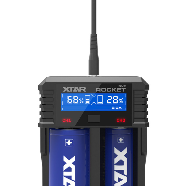 XTAR SV2 0.25A-2A Universal LCD Screen Display Ni-MH Li-ion Battery Charger 14500/16340/18650/22650/26650/32650 Charger Battery Chargers