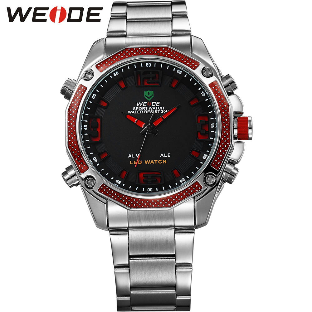 ФОТО WEIDE Popular Brand LED Sport Watch Men Analog Digital 30m Waterproof Stainless Steel Quartz Movement Black Dial Wristwatches
