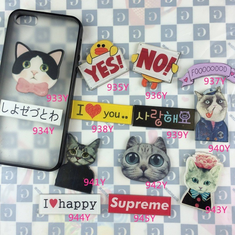 Acrylic HARAJUKU Badge cat Totoro Brooches Pin Up Collar Tips Cartoon Enamel YES NO Letter Gifts XZ86