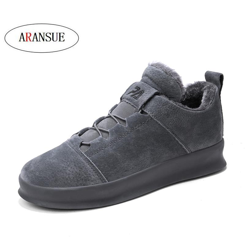 ARANSUE pig leather Vulcanized shoes hip hop shoes high quality winter casual shoes with fur warm shoe for men size 39 44