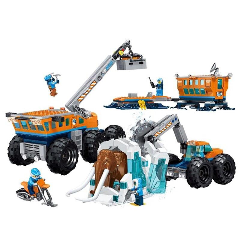 Новый городской набор Arctic Exploration мобильная база совместима с LegoINGLYS город 60195 Модель Строительный блок кирпичи игрушки Детский подарок