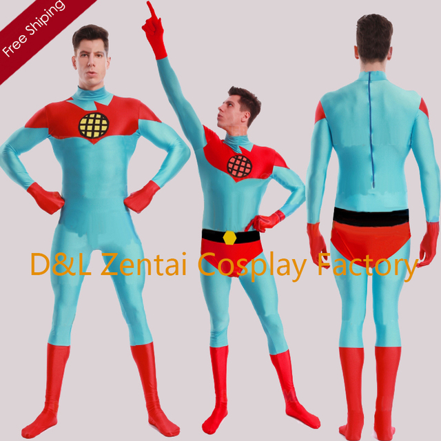free shipping dhl full body captain planet and the planeteers captain planet costume spandex catsuits