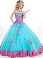 Nieuwe Meisje Baljurk Bloem Meisje Jurken Scoop Geappliceerd Glitz Lange Pageant Jurken Voor Kids Wedding Avond Prom Gown