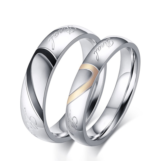 Couple Titanium Heart Shape Wedding Rings Women Men Romantic Stainless Steel Rin