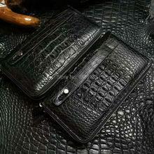100% genuine alligator skin leather long big size men wallet purss,double zipper closure alligator skin men clutch wallet