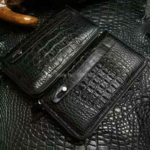 100 genuine alligator skin leather long big size men wallet purss double zipper closure alligator skin