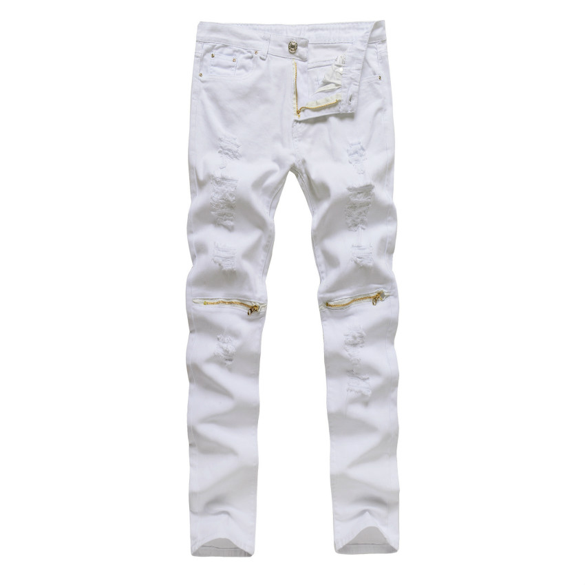 Black White Red Skinny Jeans Men Stretch Zipper Ankle Distressed Ripped Denim Jeans Trousers Streetwear Slim Male Pants Jogger