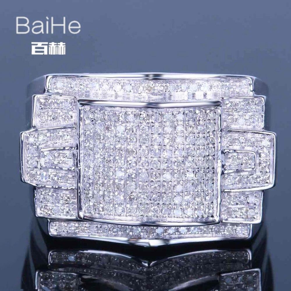 BAIHE стерлингового серебра 925 0.7CT Сертифицированный 100% из натуральной бриллиантами, безупречная основная губка для Обручение Для мужчин модн
