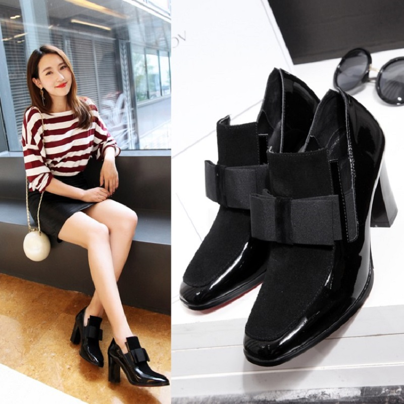 2018 spring and autumn new first layer of large high-heeled womens shoes with thick leather patent leather shoes bow2018 spring and autumn new first layer of large high-heeled womens shoes with thick leather patent leather shoes bow