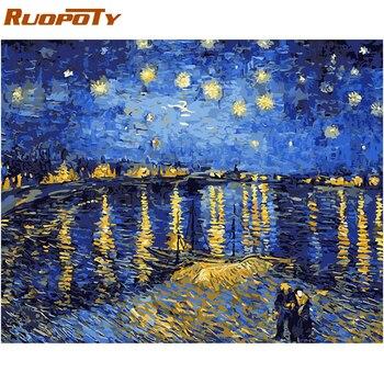RUOPOTY กรอบบทคัดย่อ River DIY ภาพวาดการประดิษฐ์ตัวอักษรภาพวาดสีอะคริลิคโดยจำนวนสำหรับตกแต่งบ้าน 40x50 ...