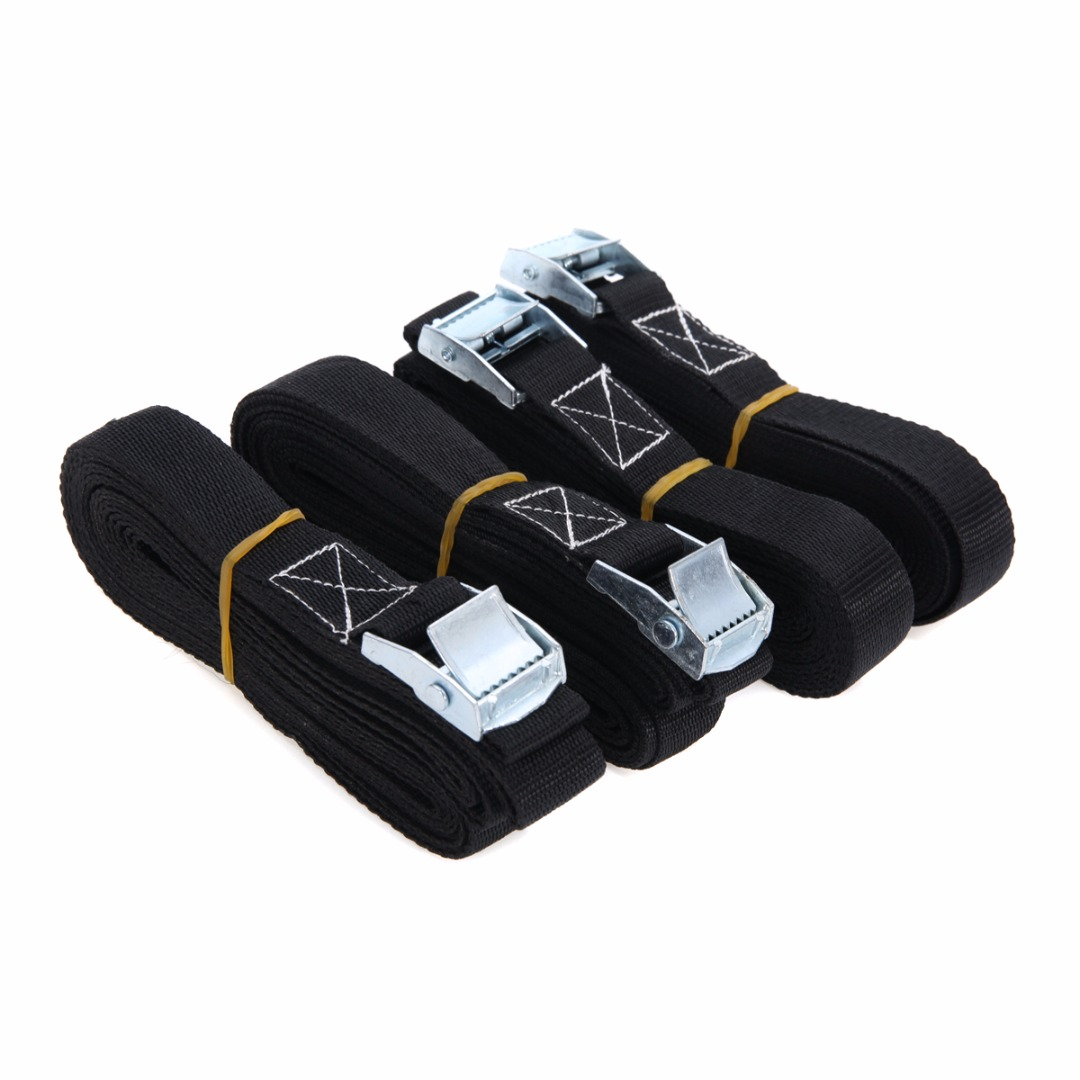 Polyester Fiber 4pcs/set Cargo Lashing Strong Ratchet Belt With Metal Buckle Heavy Duty Tie Down Strap Hot Selling ratchet tie down 5mx25mm metal buckle ratchet tie down strap 10m length