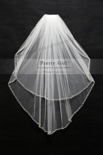 velos de novia accessoires mariage Real Photo Bead Edge 1.5M Veils Long 2016 veu Bridal Wedding Veil Cheap Wedding Accessories