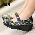 HKR 2017 Лето женщин босоножки на платформе женская Обувь Тканые обувь Плоские Туфли вьетнамки женщины мульти цвета женская обувь 889