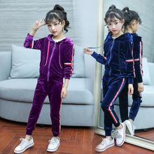hot deal buy kids clothes 2019 new gold velvet long sleeve girls clothing sets hooded zipper jackets+pants  3-12 years baby girl clothes