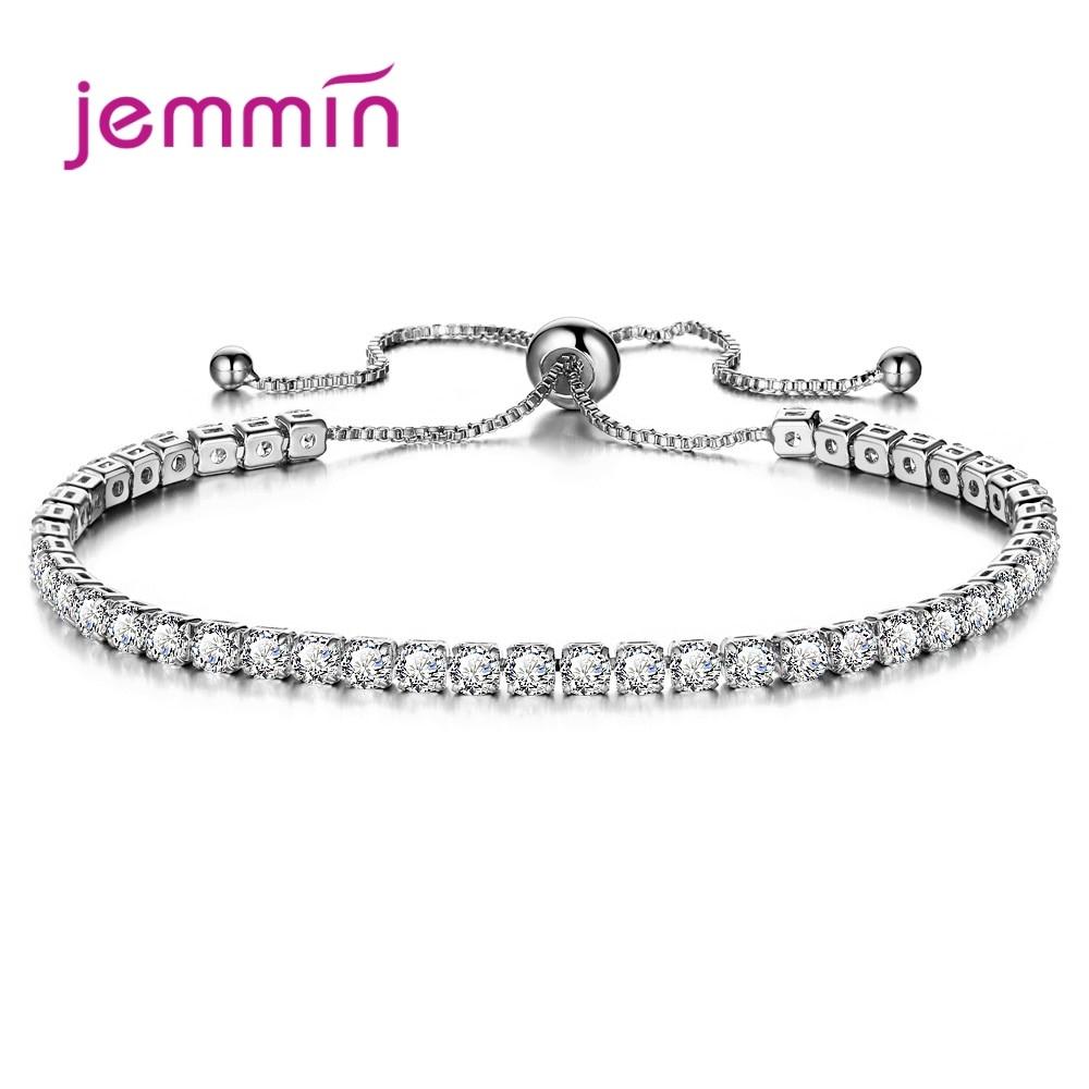 Fashion Jewelry Shiny 925 Sterling Silver Bracelet Bangles Pave Full 3A+ Grade Cubic Zirconia Crystal Bright Wedding Party|Bracelets & Bangles|   -