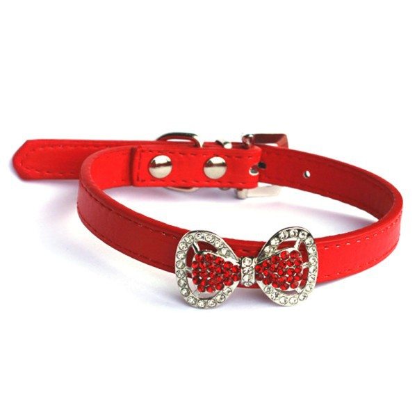 Fashion Dogs Collar Bling Crystal Bowknot PU Leather Puppy Choker Pet Necklace XS/S