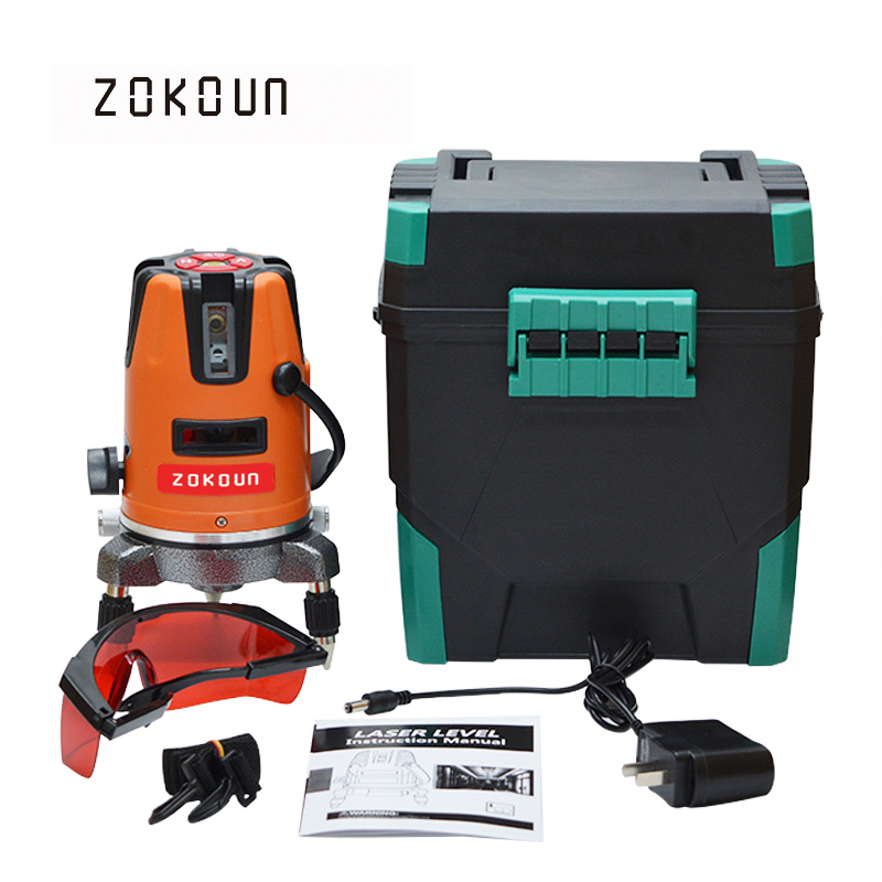 US Plug ZOKOUn 05RCO 5 lines 6 points 360 degrees rotary outdoor mode available self leveling red line laser level thyssen parts leveling sensor yg 39g1k door zone switch leveling photoelectric sensors