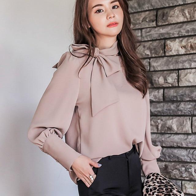 4c89c742e287 2019 Spring Long Sleeve Office Work Bow Tie Chiffon Shirts Women Elegant  Korean Bow Tie Chiffon Blouses Lady Office Bow Tie Tops