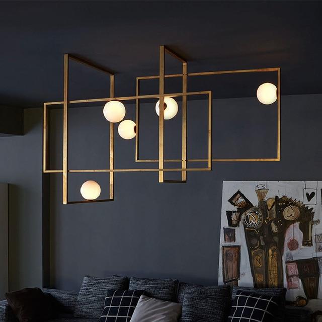World Cup Sale Modern Brass Mondrian Glass Ceiling Lamp By Venicem