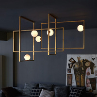 World Cup sale Modern brass MONDRIAN GLASS CEILING LAMP By VeniceM lampe LED Lampadario iluminaria light for living dining room