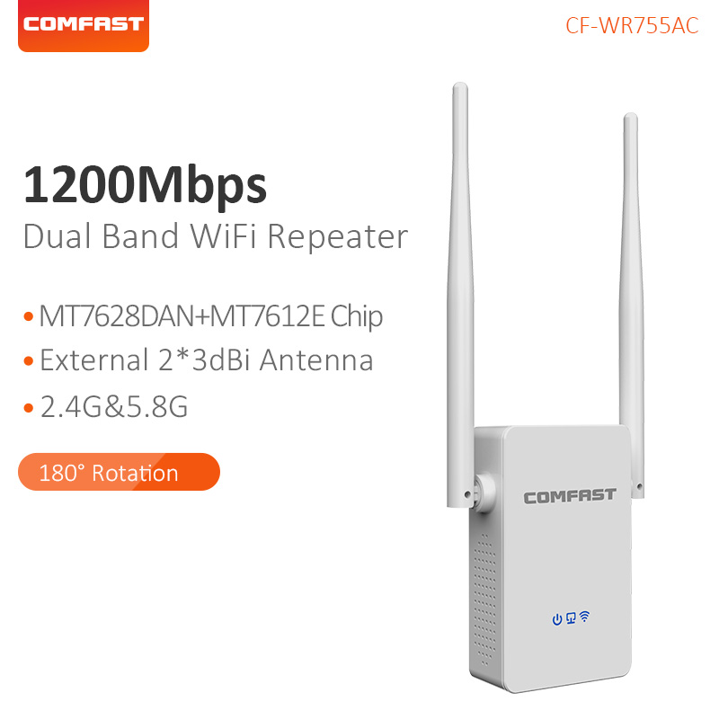 Comfast High Antennas Dual Band 1200Mbps Wireless 2.4G&5.8G Wifi Extender Repeater Bridge Signal Amplifier Router CF-WR755AC