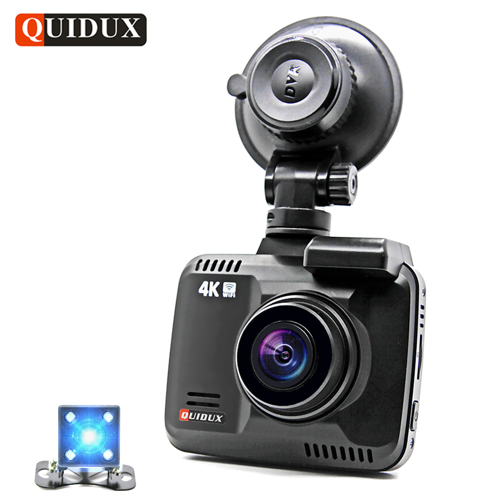 QUIDUX 4K Resolution 2160P Car DVR Dual Camera GPS logger Dash cam Video Recorder Novatek 96660 1080P Camcorder Night Vision xycing gs63h wifi car dvr novatek 96660 car camera gps tracker 4k ultra hd 2160p night vision dash cam 150 degree angle lens