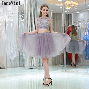 JaneVini 2018 Elegant Short Prom Dress A Line Lace Applique Beaded Illusion Back Tulle African Mini Two Piece Bridesmaid Dresses