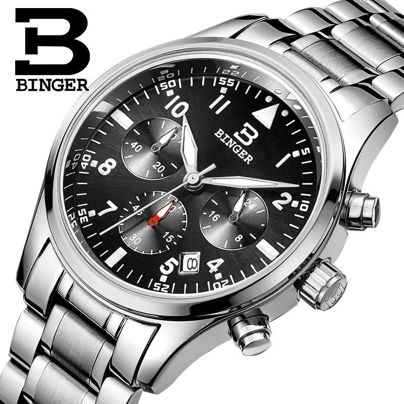 Switzerland BINGER men s watches luxury brand Quartz waterproof full stainless steel Chronograph Stop Watch Wristwatches