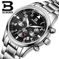 Suiza BINGER relojes hombres marca de lujo de Cuarzo Cronógrafo Cronómetro a prueba de agua de acero inoxidable completa Relojes de Pulsera B9202-2