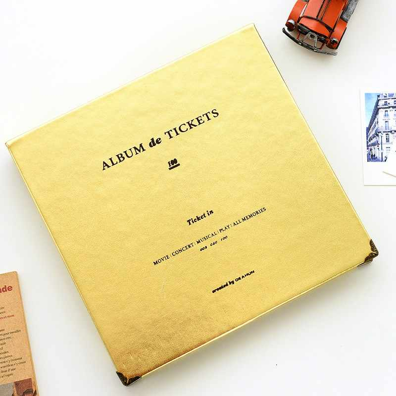 New DIY Album Concert Tickets Paper Money Collection Book PU Leather Paper Interleaf  Movie Tickets Collection Album