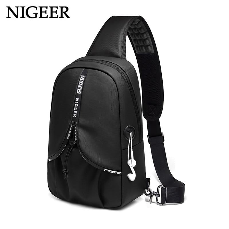 NIGEER Summer Travel Chest Bag Men Short Trip Messengers Bags Water Repellent Chest Pack 9.7 inch iPad Crossbody Bag Male n1920