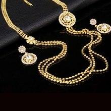 Позолоченное ожерелье, набор женских ювелирных изделий, опт, ожерелье, серьги, индийский Дубай, кристалл, ювелирные наборы