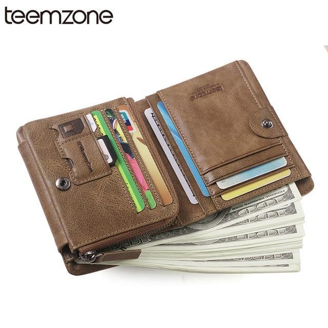 teemzone RFID Blocking Genuine Soft Leather Men Card Coin Wallet Passcase Hipster Purse Cash Receipt Holder Wallet Khaki  Q471