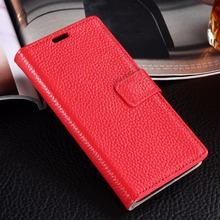 Luxury Genuine Leather Wallet Case for LG Magna H502 H502F H500F Litchi Pattern Flip Phone Cover Card Slots Photo Frame