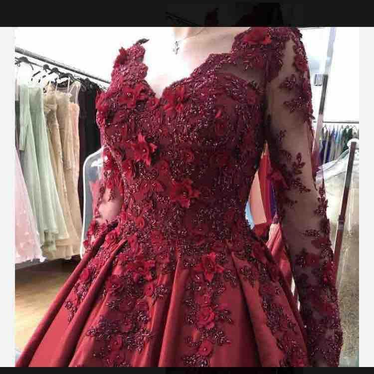 Ryanth Vestido De Festa Sexy V Neck Long Sleeve Satin Evening Dress 2019 Robe de soiree Red Lace Ball Gown Prom Dresses